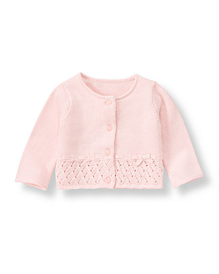 Baby Girl Barely Pink Pointelle Interlaced Cardigan at JanieandJack