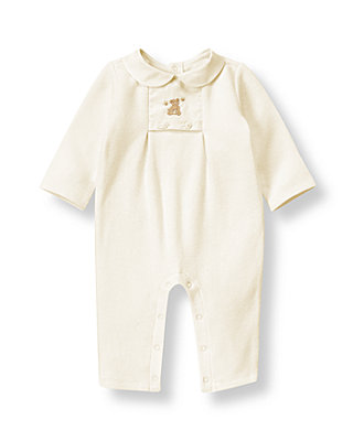 Jet Ivory Honey Bear Bib One-Piece at JanieandJack