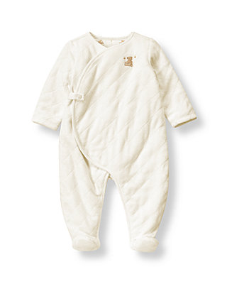 Jet Ivory Honey Bear Quilted Velour One-Piece at JanieandJack