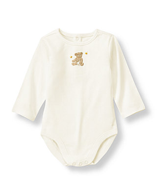 Jet Ivory Hand-Embroidered Honey Bear Bodysuit at JanieandJack