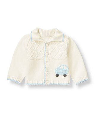 Baby Boy Jet Ivory Car Diamond Cardigan at JanieandJack