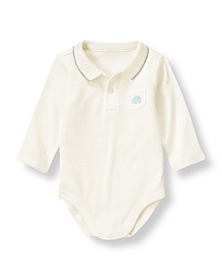 Baby Boy Jet Ivory Car Polo Bodysuit at JanieandJack