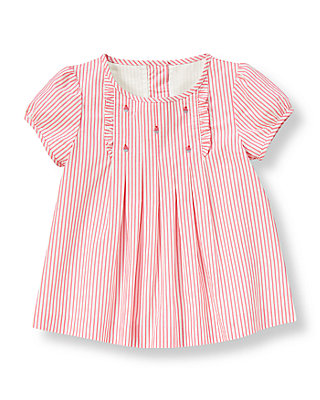 Confetti Pink Stripe Cupcake Embroidered Stripe Top at JanieandJack