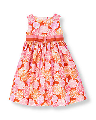 Candied Orange Floral Ribbon Bow Floral Dress at JanieandJack