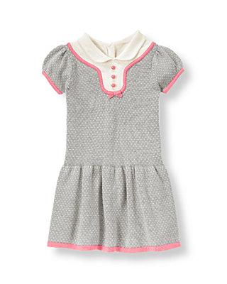 Silver Grey Dot Collared Sweater Dress at JanieandJack