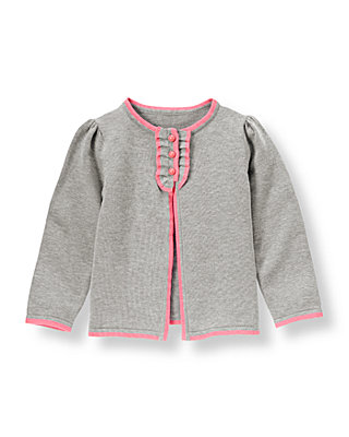 Silver Grey Tipped Ruffle Placket Cardigan at JanieandJack