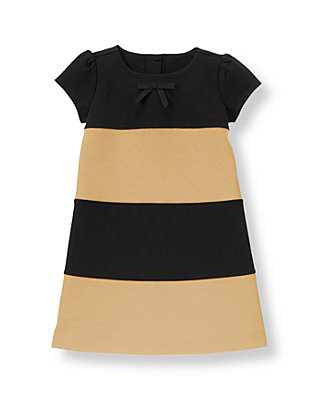 Tan Stripe Colorblock Ponte Dress at JanieandJack