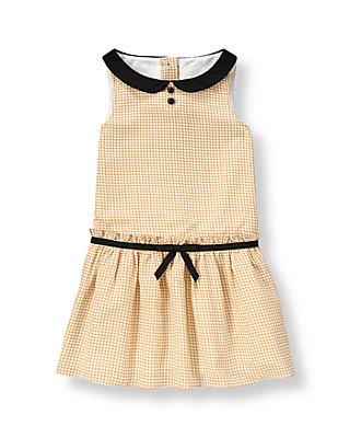 Tan Minicheck Houndstooth Crepe Dress at JanieandJack