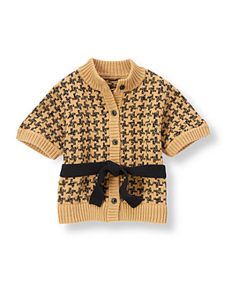 Tan Check Houndstooth Cardigan at JanieandJack