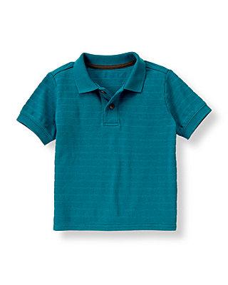 Boys Blue Stone Textured Polo Shirt at JanieandJack