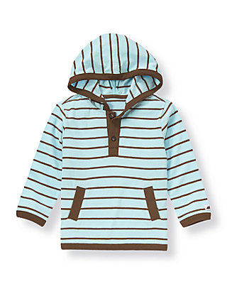 Light Blue Stripe Stripe Hoodie Tee at JanieandJack