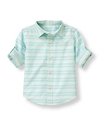 Boys Light Blue Stripe Dobby Stripe Roll Cuff Shirt at JanieandJack
