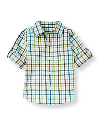 Boys Dinosaur Green Check Plaid Roll Cuff Shirt at JanieandJack