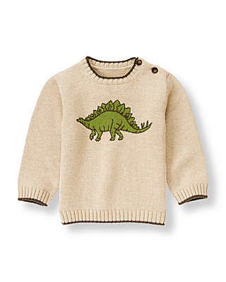Beige Dinosaur Sweater at JanieandJack