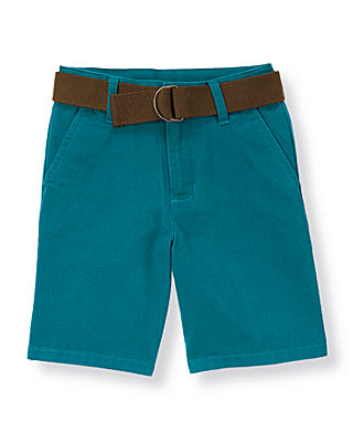 Boys Blue Stone Belted Canvas Short at JanieandJack