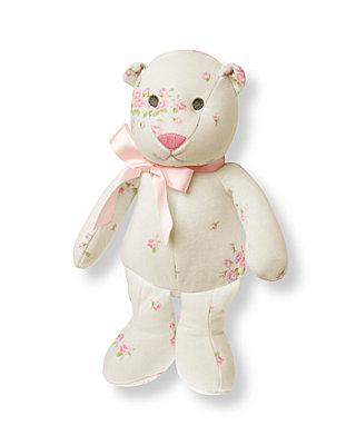 Barely Pink Rosette Floral Rosette Floral Bear Rattle at JanieandJack