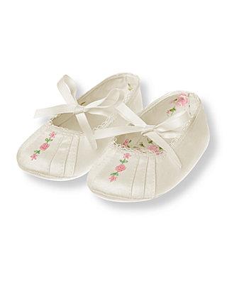 Baby Girl Jet Ivory Rosette Sateen Crib Shoe at JanieandJack
