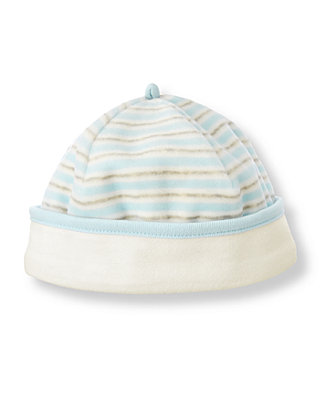 Baby Boy Feather Blue Stripe Stripe Velour Beanie at JanieandJack