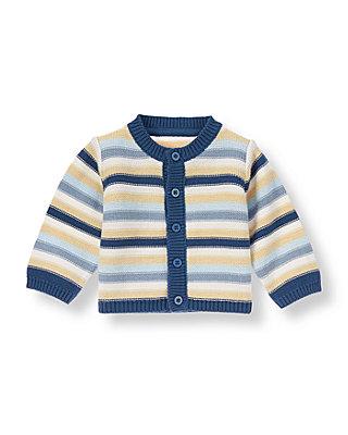 Baby Boy Charming Blue Stripe Stripe Cardigan at JanieandJack
