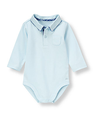 Baby Boy Cloud Blue Polo Knit Bodysuit at JanieandJack