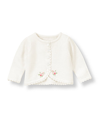 Baby Girl Jet Ivory Hand-Embroidered Crop Cardigan at JanieandJack