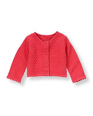 Baby Girl Berry Rose Sweater Cardigan at JanieandJack