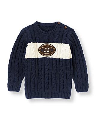 Champion Navy Football Stripe Sweater at JanieandJack