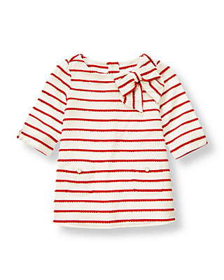 Metropolitan Red Stripe Scalloped Stripe Tunic Top at JanieandJack