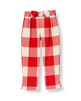 Metropolitan Red Check Bow Plaid Pant at JanieandJack