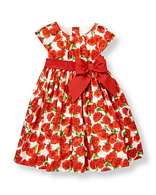 Metropolitan Red Floral Bow Floral Dress at JanieandJack