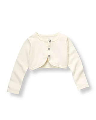 Jet Ivory Gem Button Crop Cardigan at JanieandJack