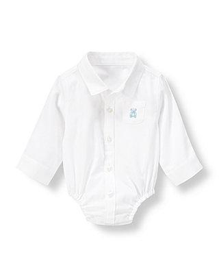 Baby Boy Pure White Teddy Bear Shirt Bodysuit at JanieandJack