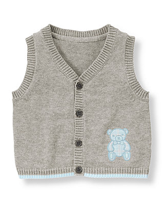 Baby Boy Heather Grey Teddy Bear Sweater Vest at JanieandJack