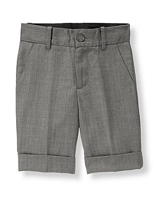 Boys Rich Heather Grey Herringbone Suit Short at JanieandJack