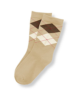 Boys Classic Khaki Argyle Sock at JanieandJack