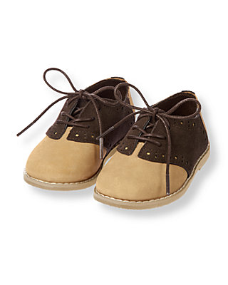 Brown Leather Saddle Shoe at JanieandJack