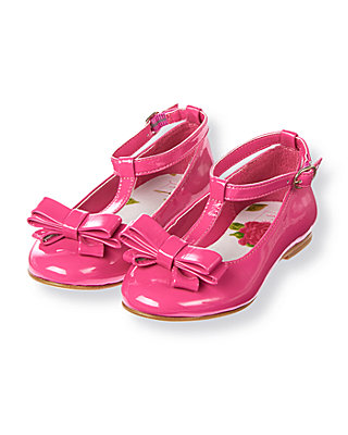Fuchsia Rose Bow T-Strap Patent Leather Shoe at JanieandJack