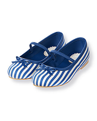 Edwardian Blue Stripe Dobby Stripe Bow Shoe at JanieandJack