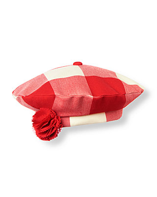 Metropolitan Red Check Corsage Plaid Beret at JanieandJack