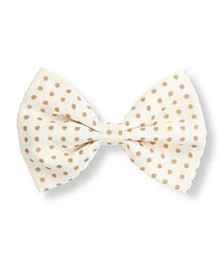 Tan Dot Dot Chiffon Bow Barrette at JanieandJack