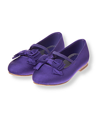 Dark Amethyst Bow Silk Shoe at JanieandJack