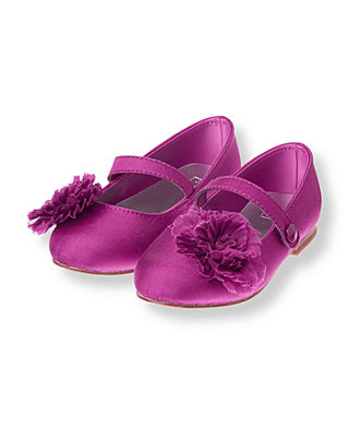 Purple Sapphire Pleated Rosette Silk Shoe at JanieandJack