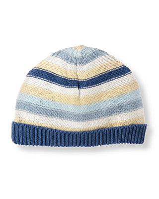 Baby Boy Charming Blue Stripe Stripe Sweater Beanie at JanieandJack