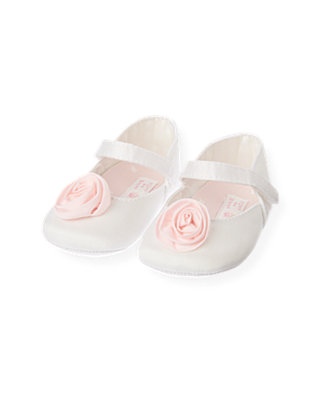 Baby Girl Jet Ivory Rosette Crib Shoe at JanieandJack