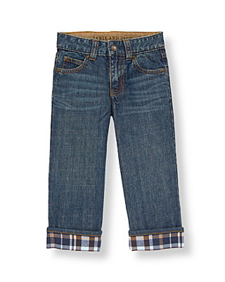 Boys Medium Indigo Wash Cuffed Denim Jean at JanieandJack