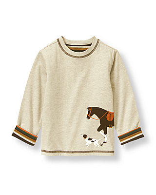 Oatmeal Heather Horse Reversible Tee at JanieandJack