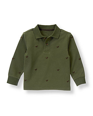Hunter Green Horse Embroidered Polo Shirt at JanieandJack
