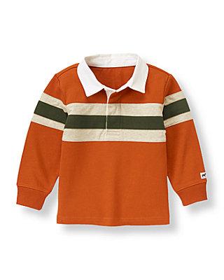 Rust Orange Elbow Patch Rugby Shirt at JanieandJack