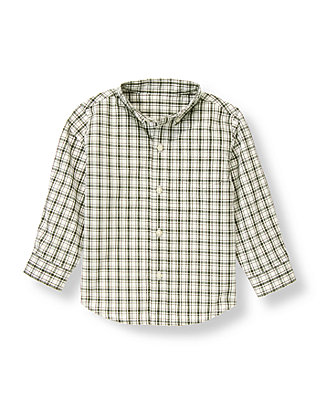 Hunter Green Check Plaid Checked Dress Shirt at JanieandJack