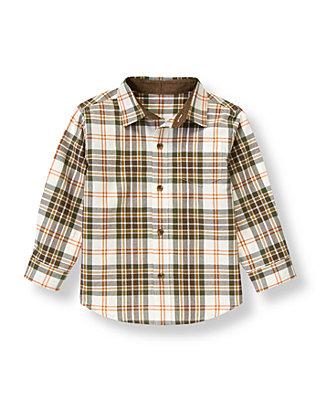 Olive Green Plaid Plaid Twill Shirt at JanieandJack